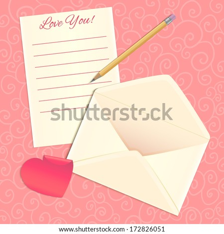 Love letter, envelope and heart sticker, eps10 - stock vector