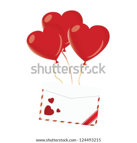 Love letter with heart balloon - stock vector