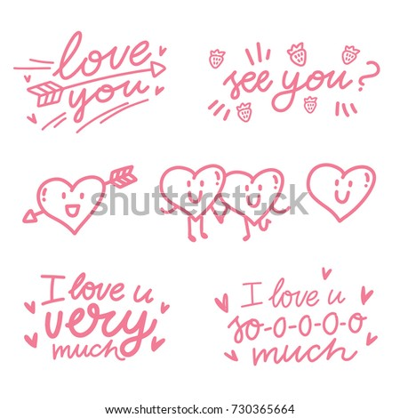 Love lettering calligraphy text illustrations outline love lettering calligraphy text illustrations with outline cute pink doodles see you i love voltagebd Gallery