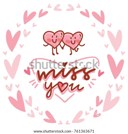 Love lettering calligraphy text doodles on stock vector royalty love lettering calligraphy text with doodles on romantic background with hearts miss you cute m4hsunfo