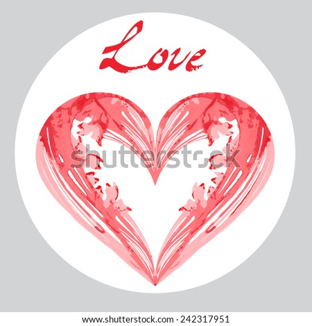 Love lettering Greeting Card. Happy Valentine's Day by watercolor Isolated on white background
