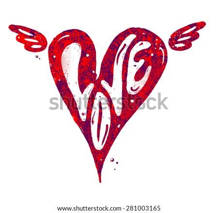 Love Lettering with Heart Symbol - stock vector