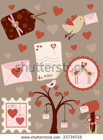 love letters chic Valentines Day collection - stock vector