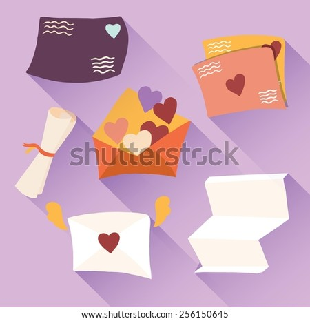 Love letters icon set. - stock vector