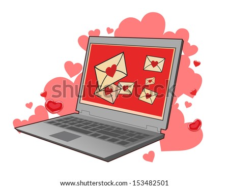 Love letters on laptop Screen - stock vector