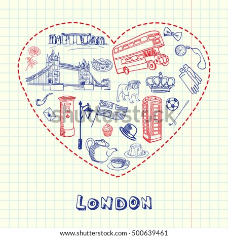 Love London. Dotted heart filled with doodles associated with english capital drawn on squared paper vector illustration. Memories about Europe journey. Sketched with pen British related icons