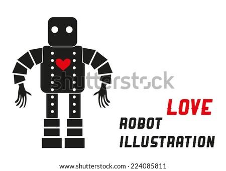 Love machine Robot illustration - stock vector