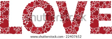 Love made with hearts - stock vector
