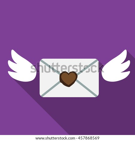 Love mail with wings flat icon illustration isolated vector sign symbol