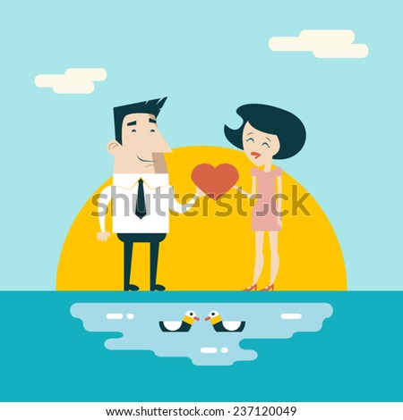 Love Male and Female Cartoon Characters Valentine's Day Icons Greeting Card Concept Stylish Background Flat Design Template Vector Illustration - stock vector