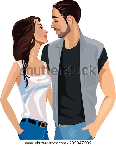 love man and woman looking at each other - stock vector