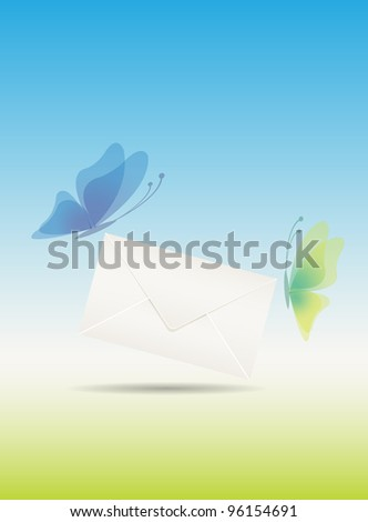 Love message with butterflies, vector illustration, eps10, easy editable - stock vector