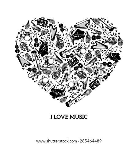 Love music concept with black icons musical instruments in heart shape vector illustration - stock vector