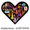 Love Music Heart. Musical instruments on heart shape background. Isolated icon set. - stock vector