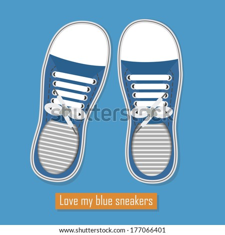 Love my blue sneakers - A pair of blue sneakers with shoelaces on blue background - stock vector