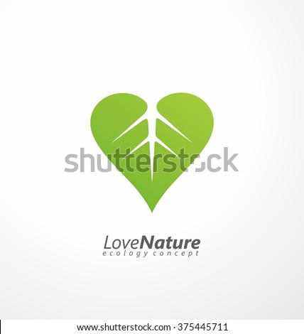 Love nature creative logo design template. Simple green leaf and heart shape symbol. Ecology concept. Think green. - stock vector