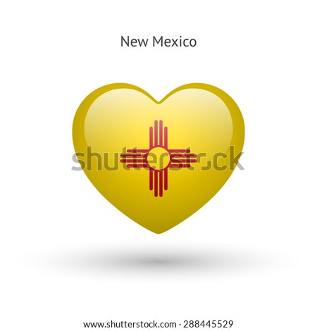 Love New Mexico state symbol. Heart flag icon. Vector illustration. - stock vector