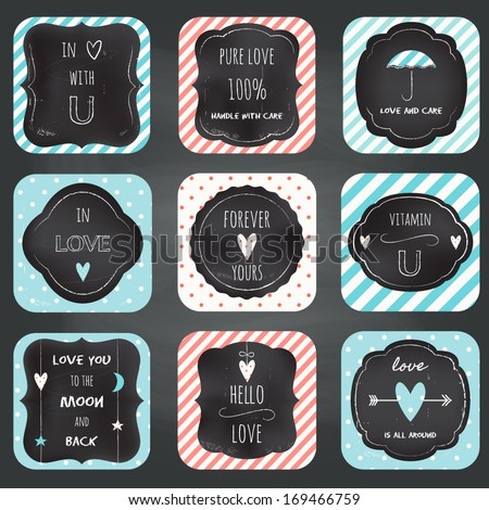 Love Notes Cards Chalkboard Typography Design. Stripes and Dots Seamless Patterns Included - stock vector