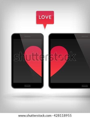 Love on Gadget. Vector illustration of smart phone and tablet. Happy Valentines Day on Mobile and Tablet. Phone and tablet screen with Hearts. - stock vector