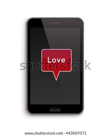 Love on Phone. Vector illustration of smart phone. Happy Valentines Day on Mobile. Phone screen with Hearts. - stock vector