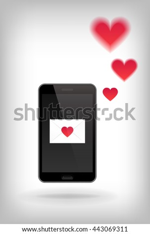 Love on Phone. Vector illustration of smart phone. Happy Valentines Day on Mobile. Phone with Hearts. - stock vector