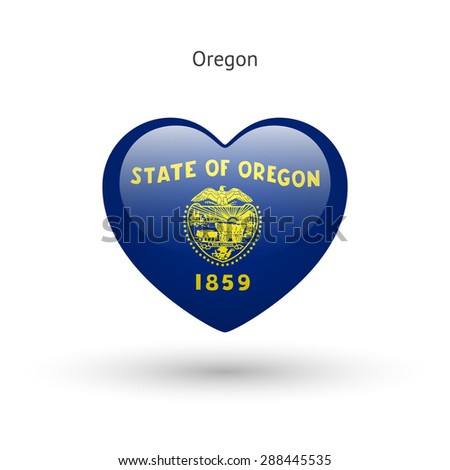 Love Oregon state symbol. Heart flag icon. Vector illustration. - stock vector