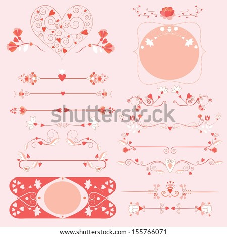 love ornaments set - stock vector