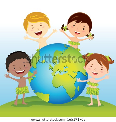 Love our Earth. Vector illustration of diverse children love and protect the world. - stock vector
