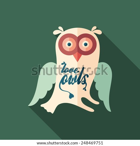 Love owls flat square icon with long shadows. - stock vector