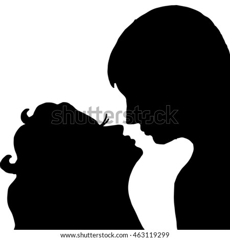 Love. Pair. Kiss. Isolated on white background