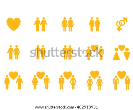 Love Pairs vector icon set. Style is yellow flat symbols isolated on a white background.