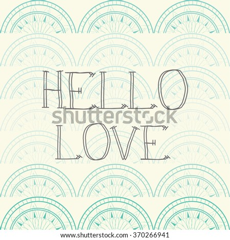 love pattern set and hello love and heart valentine and wedding invitation cover design in vector - stock vector