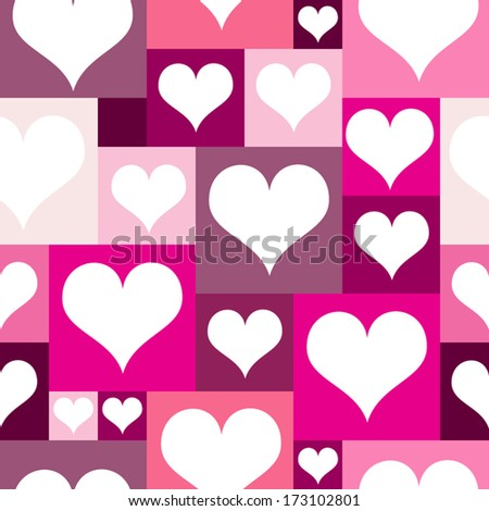 Love pattern with hearts. Seamless pattern in simple colors. Retro hearts composition for backgrounds. Vector elements are grouped. Drop into your AI swatches and use as fill. Easy to recolor.