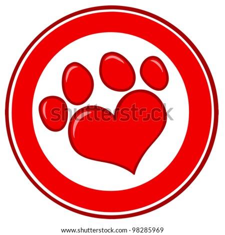 Love Paw Print Banner. Vector Illustration - stock vector