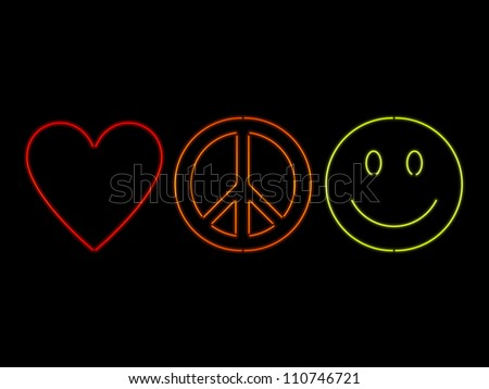 Love, peace and happiness symbols rendered in neon