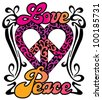 Love Peace Heart design in a retro 1960s-1970s style. - stock photo