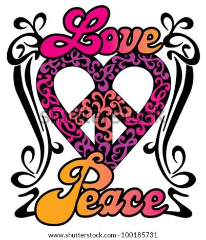 Love Peace Heart design in a retro 1960s-1970s style. - stock vector