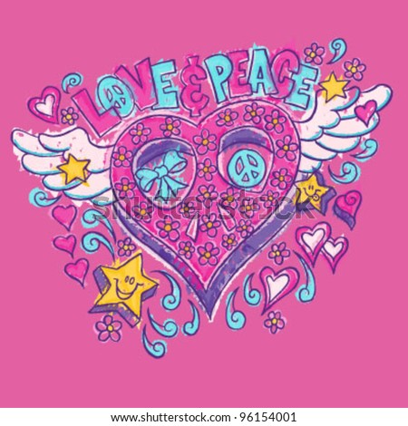 Love & Peace Heart Doodle - stock vector