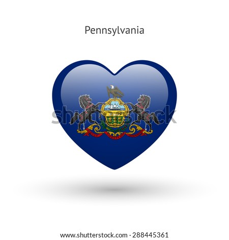 Love Pennsylvania state symbol. Heart flag icon. Vector illustration. - stock vector