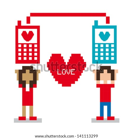 love pixel design over white background vector illustration - stock vector