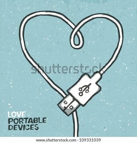 Love portable devices, concept illustration. Vector, EPS10 - stock vector