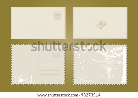 Love postcard set with birds and tree. Love envelope set with hearts. Vector Illustration. - stock vector