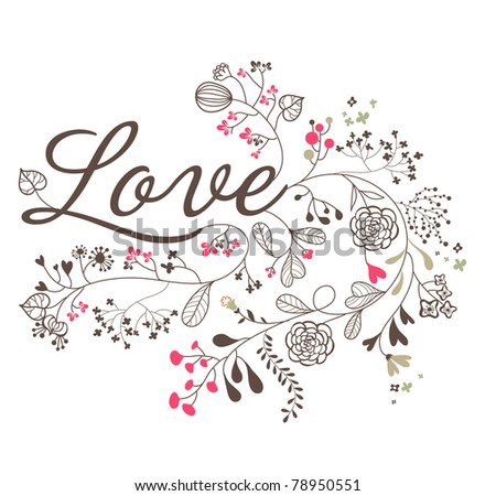 love print for wedding invitation card - stock vector