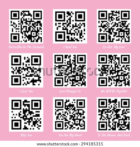Love QR codes. I love you QR code, miss you QR code - stock vector