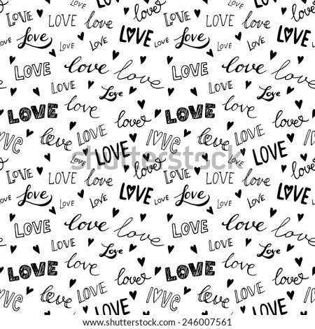 LOVE. Romantic seamless pattern. Love elements in one background in vector. Can be used for wedding invitation, card for Valentine's Day or card about love. - stock vector