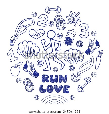 Love run blue vector icons set. Healthy lifestyle background - stock vector
