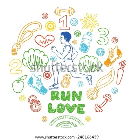Love run color vector icons set. Healthy lifestyle background - stock vector