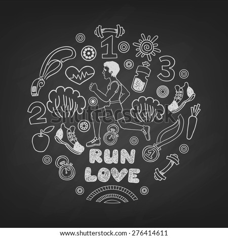 Love run man vector icons set on a blackboard. Healthy lifestyle background - stock vector