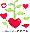 Love's patterns, hearts, lips, tree and leaves.. All objects are separated, they can be scaled or recolored without any problems and quality loss. - stock vector
