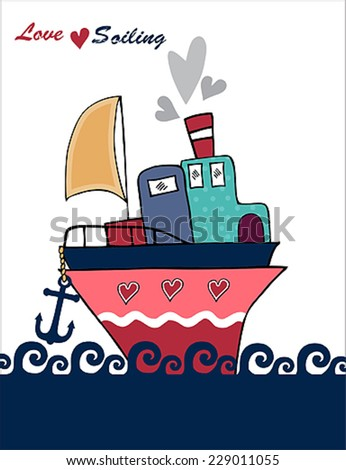 love sailing post card vector  - stock vector